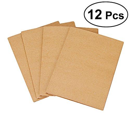 TOYMYTOY - Cartella portadocumenti, formato A4, 2 tasche, in cartone kraft, con chiusura a filo per rilegatura, 12 pezzi