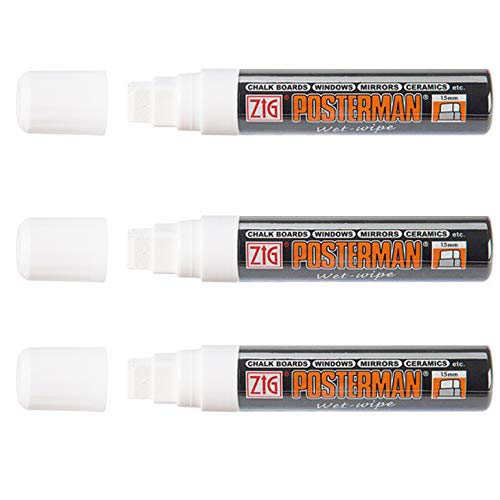 Zig Kuretake Posterman - Pennarello a gesso liquido, con punta extra larga da 15 mm, per lavagna, vetro, metallo, plastica, lavagna bianca, confezione da 3