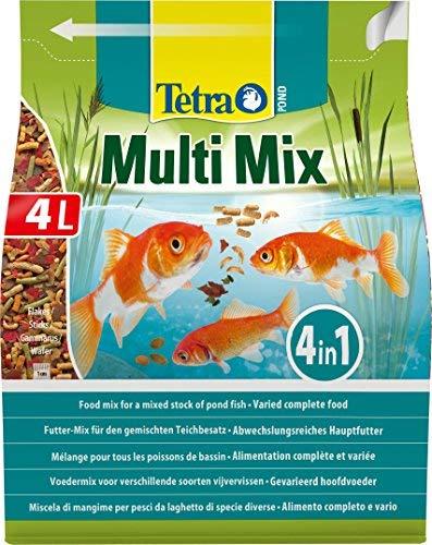Tetra Pond Multi Mix 4 L Mangime per Pesci, Composto da 4 Diversi Tipi di Cibo (Cibo in Scaglie, Bastoncini, Gammarus, Wafer)