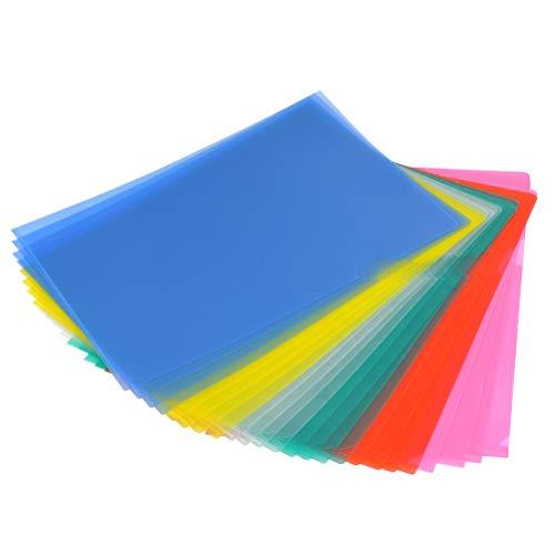 YOTINO 24 Pezzi Busta a L in Plastica Colorata Formato A4 di Cartellina Assortiti, 6 Colori Cartelline da Ufficio Trasparente, Giallo, Verde, Blu, Rosa e Rosso