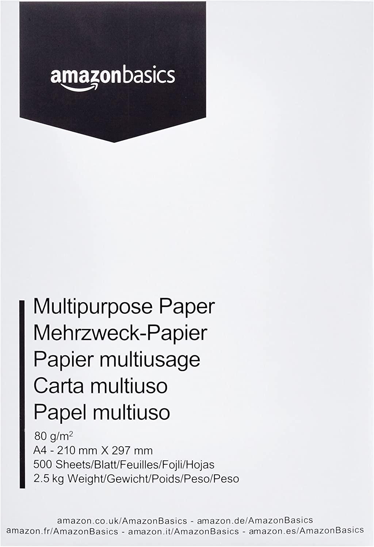 AmazonBasics Carta da stampa multiuso A4 80gsm, 1 risma, 500 fogli, bianco