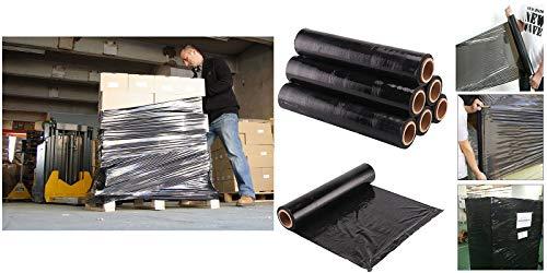 6 Pezzo Di Film Estensibile Imballaggio Pellicola Pe Fogli Stretch Nero 500 Mm X 300 M 23Μ