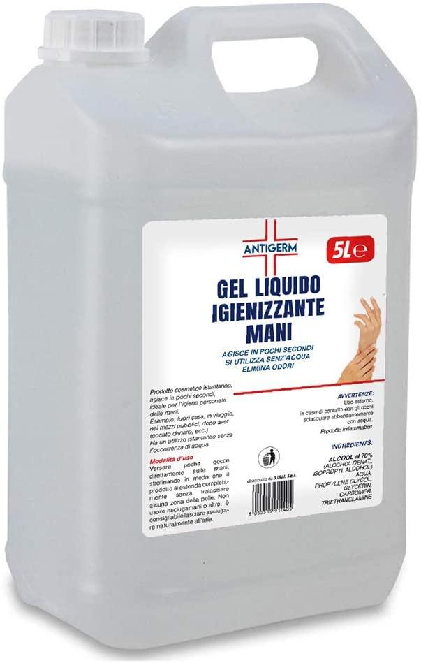 Antigerm Tanica da 5 Litri Gel Igienizzante per Mani 65% Alcool Maxi Formato Made in Italy