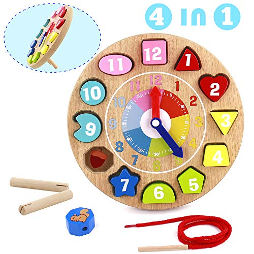Orologio Giocattolo Bambino Montessori Giocattoli de Puzzle in Legno 4 in 1 Regalo Educativi per Bambini 3 4 5 6 Anni