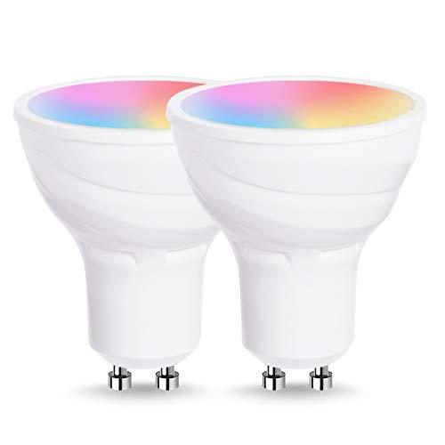 Lohas Smart Lamp Spotlight, Lampadina a LED con attacco GU10, multicolore RGB + bianco, potenza 5W, funziona con Alexa e Google Home, 2 pezzi