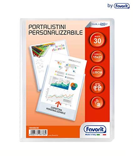 Favorit 100460235 -  Portalistino con Buste Fisse e Tasca Frontale Personalizzabile per Fogli 30 Buste, A5, Trasparente