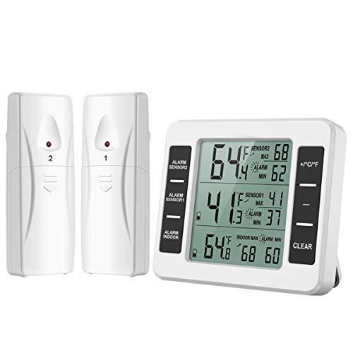 ORIA Termometro per Frigorifero Digitale, Termometro Interno/Esterno del Congelatore con 2 Sensori Wireless e Allarme Audio, Termometri da Frigo Registrare Min/Max, per Casa, Ristoranti, ECC