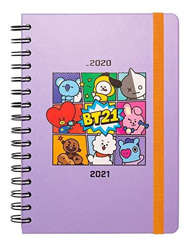 Diario Scuola Settimanale 2020/2021 BT21, 12 mesi, A5, spazi extra per la pianificazione, adesivi stickers