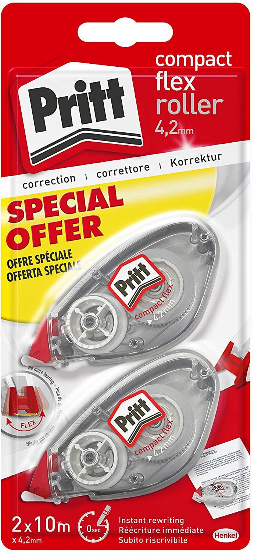 Pritt Flex Roller, Bianchetto a nastro per coprire gli errori, Correttore a nastro riscrivibile, Correttore per frasi e lettere singole, Confezione da 2 (4.2mmx10m)