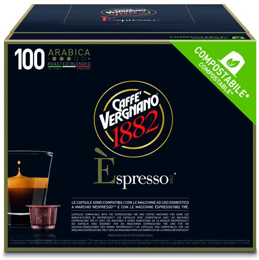 Caffè Vergnano 1882 Èspresso Capsule Caffè Compatibili Nespresso, Arabica - Pack da 100 Capsule