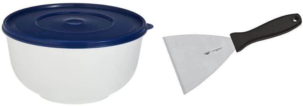 Emsa Superline 2143501200 Ciotola per lievitazione con coperchio, 5 l, colore: Bianco/Blu & Paderno 18520-12 Spatola Triangolare professionale – Raschietto tagliapasta con manico lama in acciaio inox