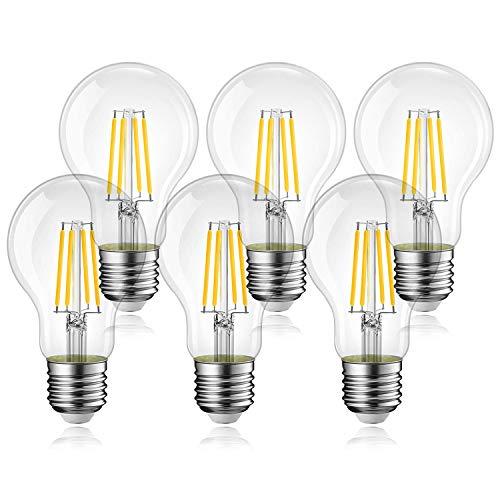Lampadina Filamento LED E27, 6W Equivalenti a 60W, 540Lm, Luce Bianca Calda 2700K, Stile Vintage Forma G45, Risparmio Energetico, Non Dimmerabile, Confezione da 6 Pezzi
