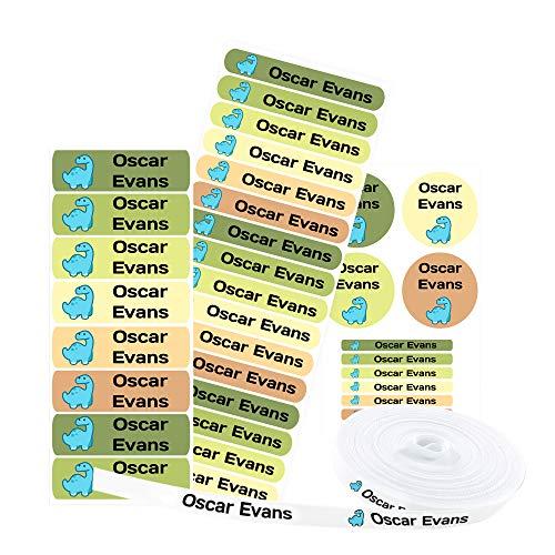 Haberdashery Online Pacchetto di 155 Etichette Personalizzate per contrassegnare Abiti e Oggetti. 100 Etichette di Tessuto termoadesivo + 55 Etichette adesive in Vinile. MOD: Dinosauri