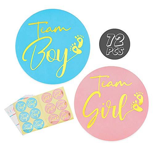 VINFUTUR 12 Fogli Genere Rivelare Adesivi Gender Reveal Stickers Baby Shower Adesivi Etichette Team Girl e Team Boy per Giochi di Genere Reveal Festa