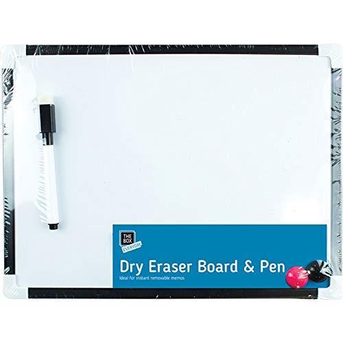 Lavagna magnetica formato A4, piccola, con pennarello e cancellino, bianca, per ufficio, per appunti, 2 calamite, cancellabile a secco