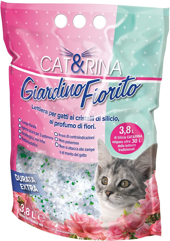 Cat&Rina Giardino Fiorito, Lettiera per Gatti Profumata ai Cristalli di Silicio, Anallergica e Batteriostatica, Confezione da 3,8 L