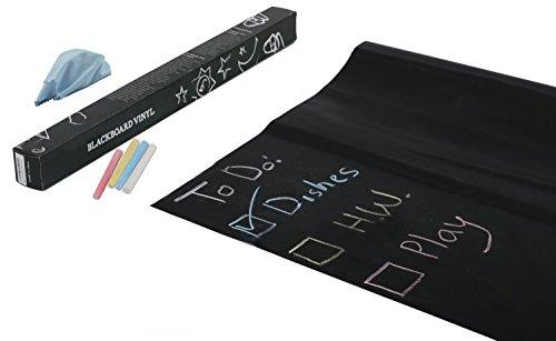 TRIXES 2 X Autoadesivi Rimovibile per Lavagna Nera con 5 Gessetti - Adesivi Lavagna - Adesivo Lavagna Adesiva Flessibile - Adesivo Nero per Casa, Scuola o Ufficio - 45 x 200 cm