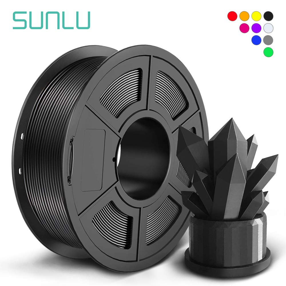 SUNLU PLA Filament 1.75mm for 3D Printer & 3D Pens, 1KG (2.2LBS) PLA 3D Filament Tolerance Accuracy +/- 0.02 mm, Black