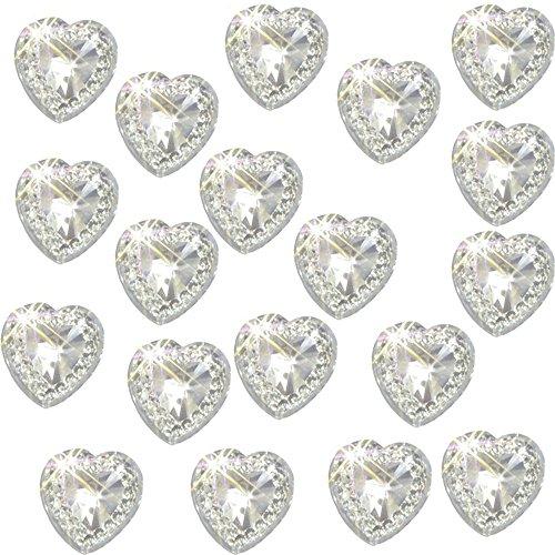 80 x autoadesiva trasparente in acrilico, con cristalli, a forma di cuore, circa 1,2 cm, alta qualità, ideale per realizzare biglietti, lavori creativi, inviti da matrimonio