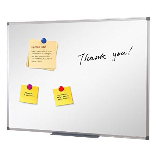 SwanSea Lavagna Magnetica Bianca Lavaggio a secco cancellare ufficio bollettino con vassoio penna e telaio in alluminio 60x45cm