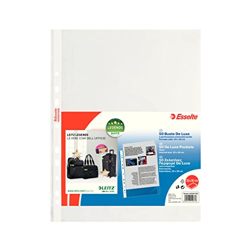 ESSELTE Buste perforate DELUXE - PPL lucido - f.to 22 x 30 cm - 395097500