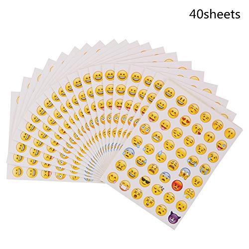 BOSSTER Adesivi Emoji 40 Fogli Adesivo Emoticon Adesivo Piccolo per Ridere Giallo per Parete Laptop Portatile Festa Decorazione e Come Ricompensa per i Bambini
