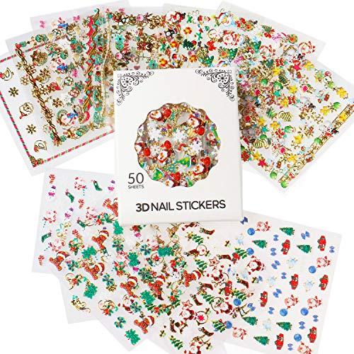 Nicedeco Più di 1500 pezzi (50 fogli) Tema di Natale Nuovo Anno Vacanza Invernale 3D Sticker Adesivi per Unghie Nail Art / Scrapbooking / Adesivi del Premio per Bambini