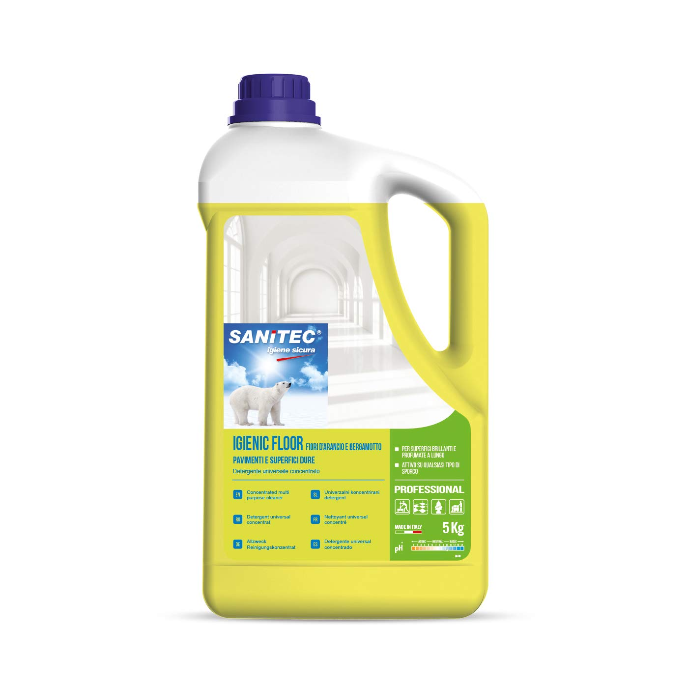 Sanitec Igienic Floor Fiori D'Arancio e Bergamotto, Detergente Pavimenti, 5 kg