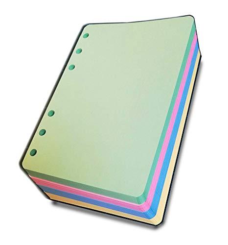 Ricambio per oganizer A6 formato personal 10x17cm - con 6 anelli (200 fogli colorati)