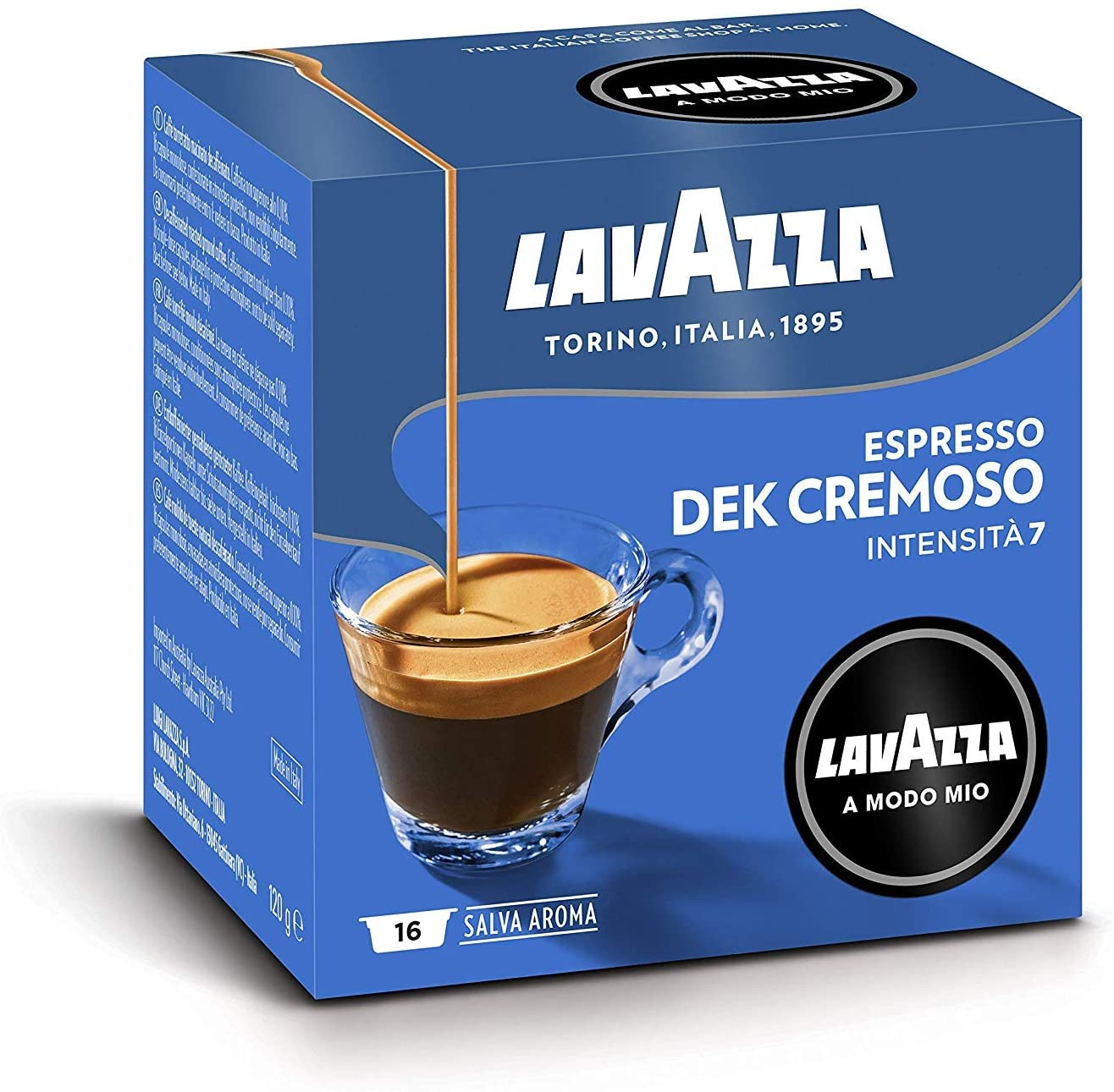 Lavazza A Modo Mio, Capsule Caffè Espresso Dek Cremoso, 8 Confezioni da 16 - 128 Capsule