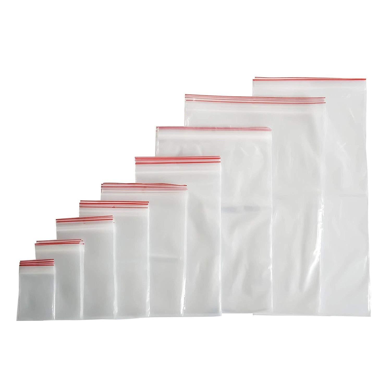 100 sacchetti con chiusura a pressione, in plastica, con chiusura lampo (40 misure a scelta), 20x25, farbenlos, 1