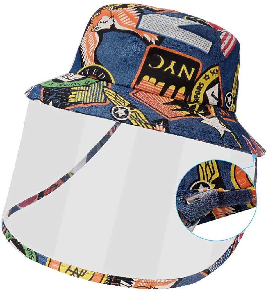 Maylisacc 52-53cm Cappello Protettivo per Bambini con Visiera, Cappello da Pescatore Protezione Pieghevole Staccabile Anti Saliva per Ragazzi Ragazze