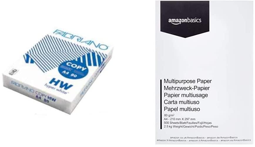 Fabriano Carta in risma bianca 500 fogli A4 80Gr & AmazonBasics Carta da stampa multiuso A4 80gsm, 1 risma, 500 fogli, bianco