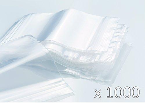 Bustine trasparenti con zip, confezione da 1000 (10 x 100 bustine), spessore 50 micron, alta qualità, misure a scelta 40mm x 60mm trasparente