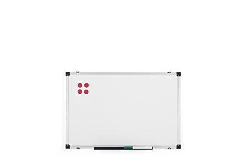 BoardsPlus, Lavagna Magnetica con Cornice Alluminio e Vassoio Portapenne, Bianco, 60 x 40 cm