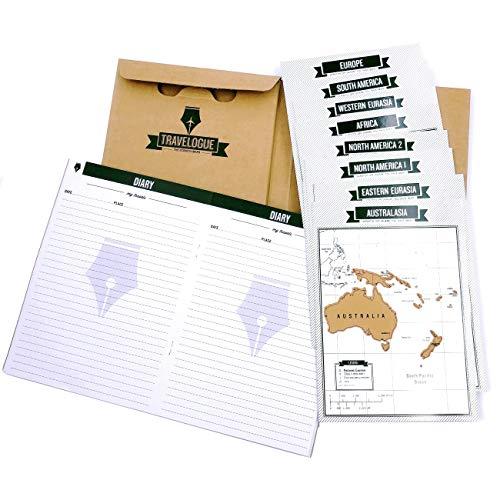 JZK Taccuino quaderno diario di viaggio con cartine da grattare, agenda con mappe mondo con continenti paesi città, regalo amante dei viaggi