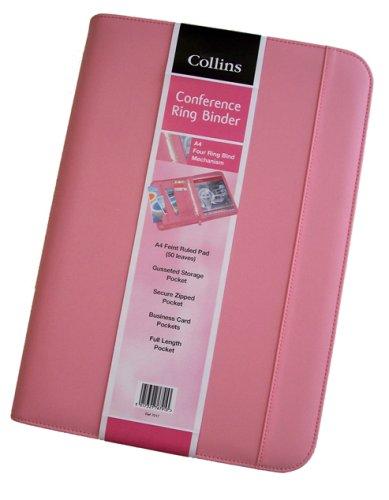 Collins - Cartella ad anelli con chiusura lampo, colore: Rosa, pink