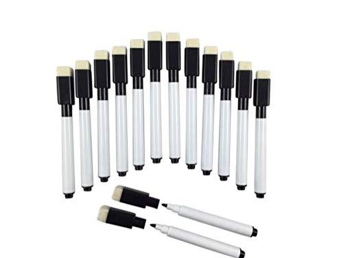 14, colore: nero, pennarelli per lavagna bianca dry wipe-Pennarello cancellabile a secco e gomma