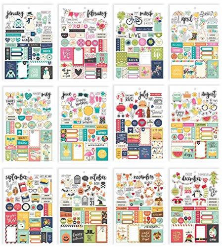 Simple Stories 7974 Planner Essentials Adesivi, multicolore, formato A5, confezione da 12