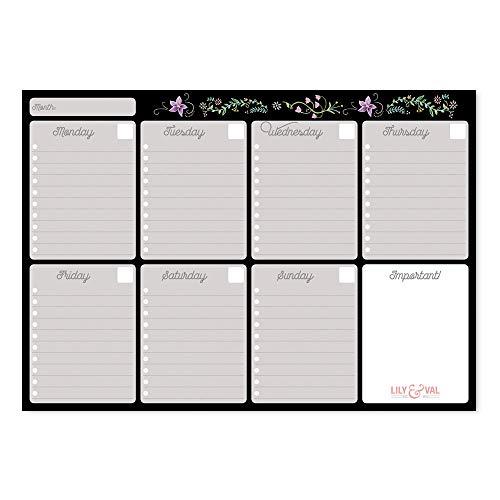Erik® - Planning da Tavolo Lily & Val con planner settimanale e 54 fogli a strappo, perfetto come agenda appuntamenti