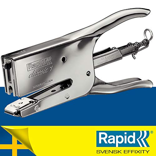Rapid Classic K1 Cucitrice a Pinza , Compatibile con i Punti Metallici 24/6 e 24/8 mm, Capacità 50 Fogli, Metallo, Cromo, 10510601