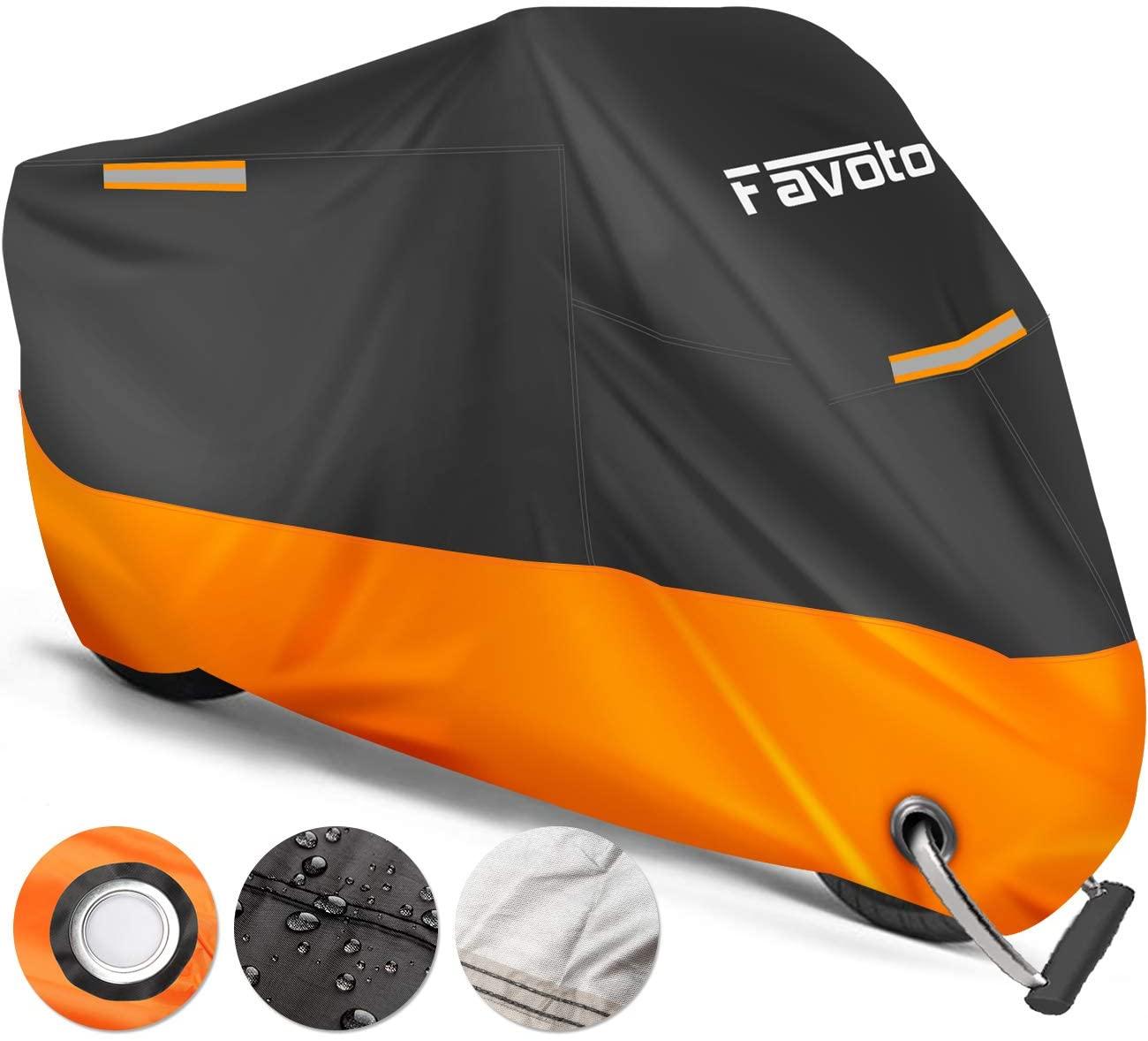 Favoto Telo Coprimoto 210D Teli per Moto Scooter Impermeabile Resistente ad Acqua/Polvere/Pioggia/Vento/Foglie, Copertura Motociclo 245 * 105 * 125cm (XXL) [Versione Migliorata]
