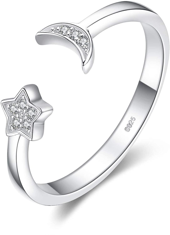 JewelryPalace Luna e Stella CZ Pavimenta Cubic Zirconia Anelli Regolabili Aperti in Sterling Argento 925 (Anello Regolabile)