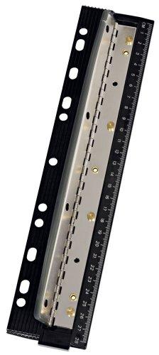 Wedo 0679401 Perforatore Tascabile con Righello in Metallo, 8 cm, 4 Fori, Nero