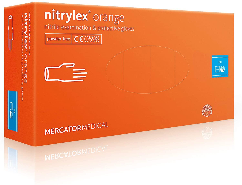 Nitrylex Guanti in Nitrile Monouso, 100 Pezzi Box Senza Polvere, Colore Arancione, Misura S