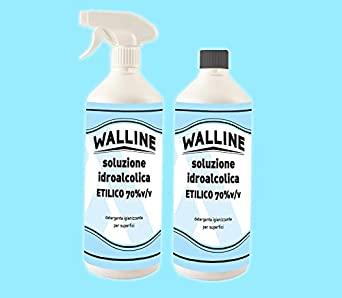 KIT Walline - 2X Soluzione Idroalcolica Alcol Etilico 70% v/v Per Superfici 1 lt con Spruzzatore + 1 lt Ricarica