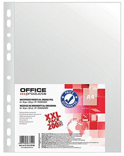 Office Products 21141219–90buste trasparenti, in PP, A4, goffrate, 40mm 200pezzi, trasparente