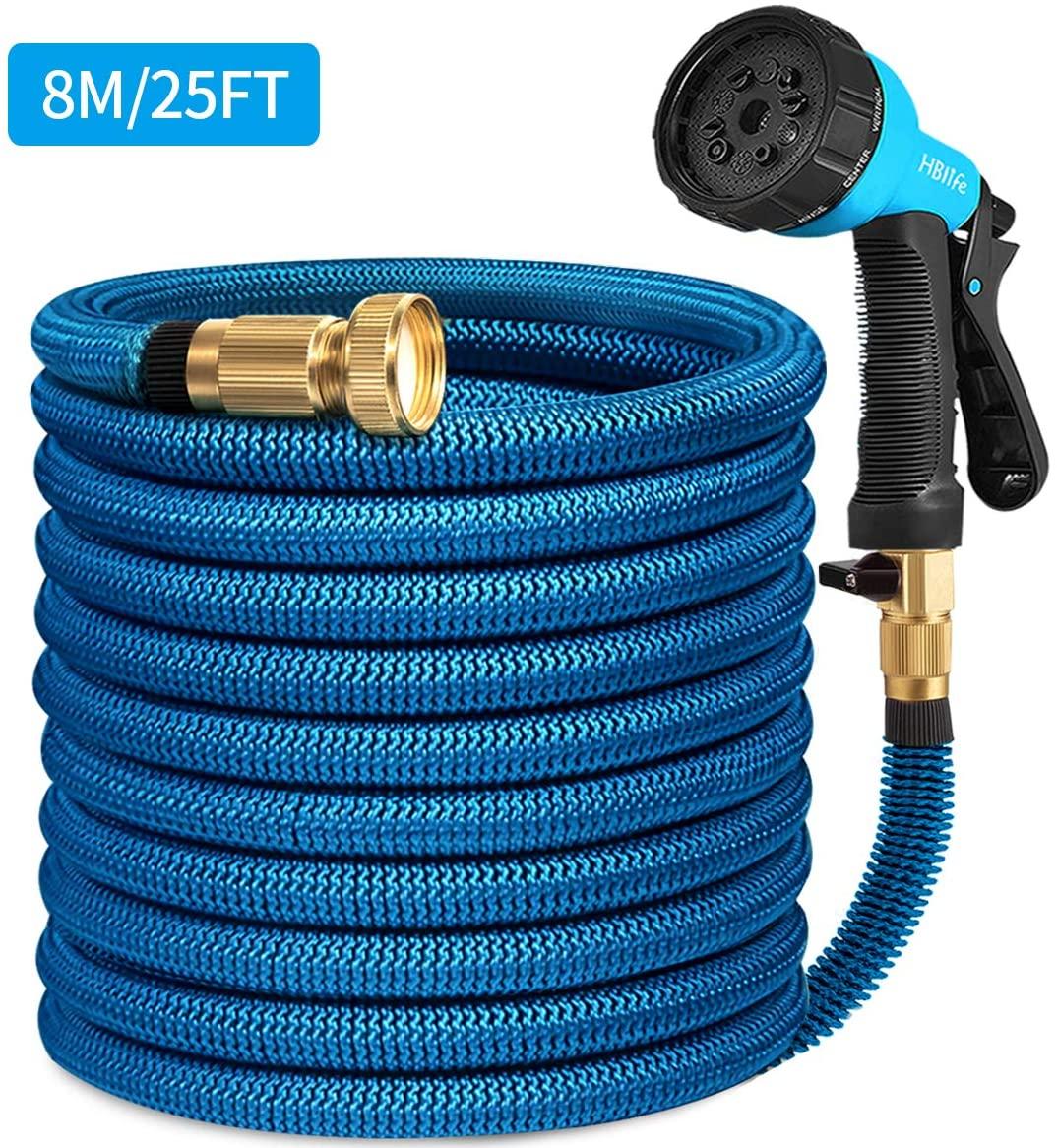 HB life Tubo da Giardino Tubo da Giardino Estensibile 8M/25FT Raccordi in Ottone Massiccio Tubo Flessibile per Acqua con Valvola di Arresto ugello di Spruzzo (8M, Blu)
