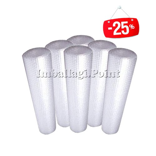 6 rotoli PLURIBALL BOLLE D'ARIA TRASPARENTE 100cmx10mt Imballaggi offerta pack