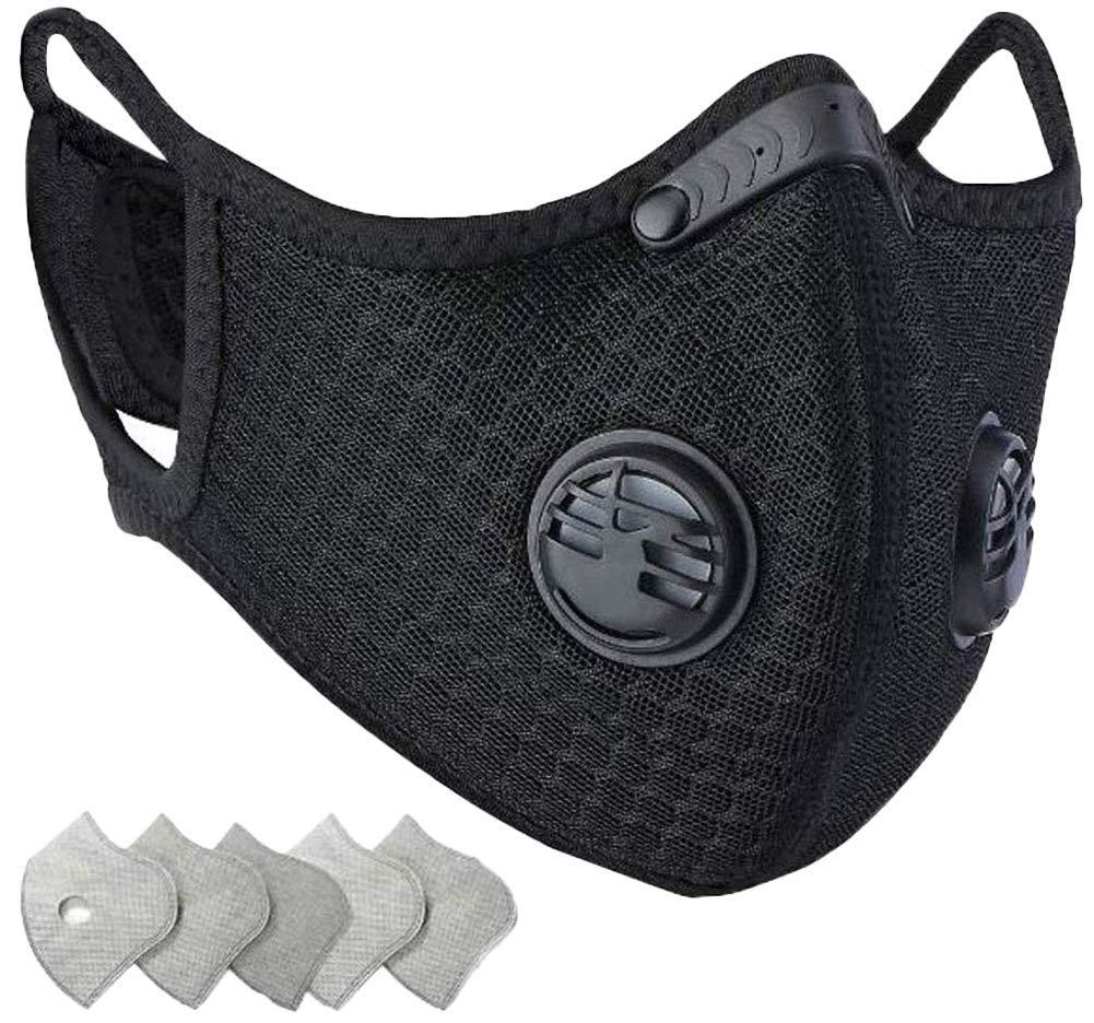 Maschera antipolvere antipolvere con 5 filtri in carbonio 2 valvole Saldatura   Maschera - Cap   Cappello   Bike   Sci   Caschi per elmetti   Maschera multifunzionale per la bocca